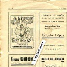 Coleccionismo de Revistas y Periódicos: REVISTA AÑO 1930 CAVA XAMPANY GANIBEDES FABRICA DE JABON DE SAN JUAN DE VILATORRADA LA MANRESANA . Lote 58208302