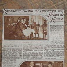 Coleccionismo de Revistas y Periódicos: REPORTAJE REVISTA ORIGINAL 1929. ROMANONES CUENTA SU ENTREVISTA CON PRIMO DE RIVERA. Lote 58245860