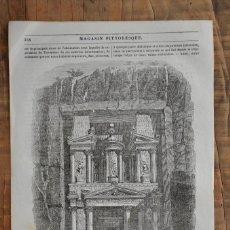 Coleccionismo de Revistas y Periódicos: HOJA REVISTA ORIGINAL 1856. GRABADO VUE DU KASR-PHARAON, PETRA. Lote 58247159