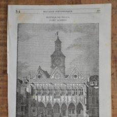 Coleccionismo de Revistas y Periódicos: HOJA REVISTA-GRABADO ORIGINAL 1856. HOTEL DE VILLE DE SAINT QUENTIN, L'AISNE. Lote 58247204