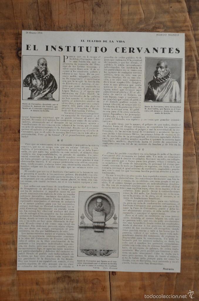 HOJA REVISTA ORIGINAL AÑOS 10. EL INSTITUTO CERVANTES (Coleccionismo - Revistas y Periódicos Antiguos (hasta 1.939))