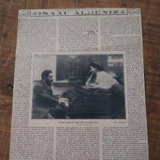 Coleccionismo de Revistas y Periódicos: HOJA REVISTA ORIGINAL 1915. GRANDES MÚSICOS ESPAÑOLES, ISAAC ALBENIZ CON SU HIJA LAURA. Lote 58373137