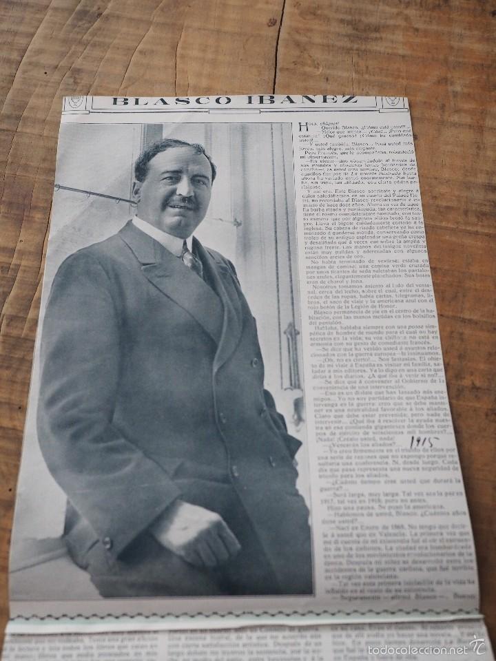 Coleccionismo de Revistas y Periódicos: ENTREVISTA DE REVISTA ORIGINAL 1915 AL ESCRITOR Y PERIODISTA VALENCIANO, VICENTE BLASCO IBAÑEZ - Foto 2 - 58373341