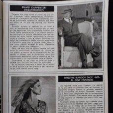 Coleccionismo de Revistas y Periódicos: RECORTE BRIGITTE BARDOT DAVID CARPENTER . Lote 58398010