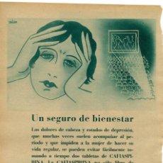 Coleccionismo de Revistas y Periódicos: CAFIASPIRINA 1934 SEGURO DE BIENESTAR HOJA REVISTA. Lote 58405205