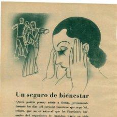 Coleccionismo de Revistas y Periódicos: CAFIASPIRINA 1934 SEGURO DE BIENESTAR HOJA REVISTA. Lote 58405230