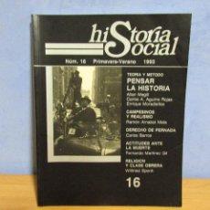 Coleccionismo de Revistas y Periódicos: UNED HISTORIA SOCIAL Nº 16 TEORIA Y METODO PENSAR LA HISTORIA AÑO 1993. Lote 58503341