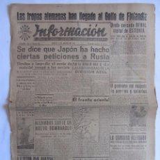 Coleccionismo de Revistas y Periódicos: INFORMACION DIARIO DE FALANGE ESPAÑOLA ALICANTE 9 AGOSTO 1941 2ª GUERRA MUNDIAL . Lote 58513772