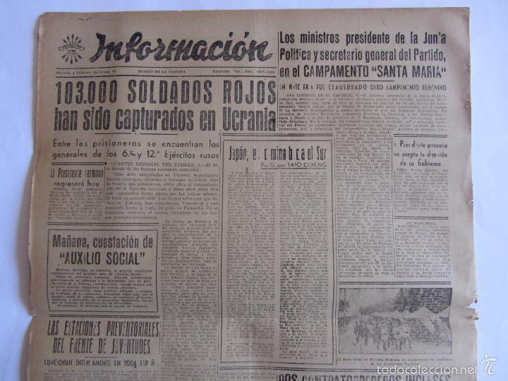 Coleccionismo de Revistas y Periódicos: Informacion Diario de Falange Española Alicante 9 Agosto 1941 2ª Guerra Mundial - Foto 2 - 58513772