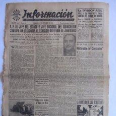 Coleccionismo de Revistas y Periódicos: INFORMACION DIARIO DE FALANGE ESPAÑOLA ALICANTE 7 SEPTIEMBRE 1941 FIESTAS DE MONOVAR DIVISION AZUL. Lote 58513904