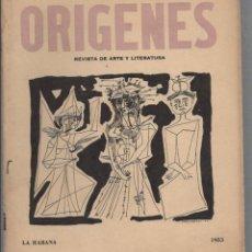 Coleccionismo de Revistas y Periódicos: REVISTA ORIGENES. REVISTA DE ARTE Y LITERATURA. Nº 39. LA HABANA. 1955. AÑO XII. Lote 58604111