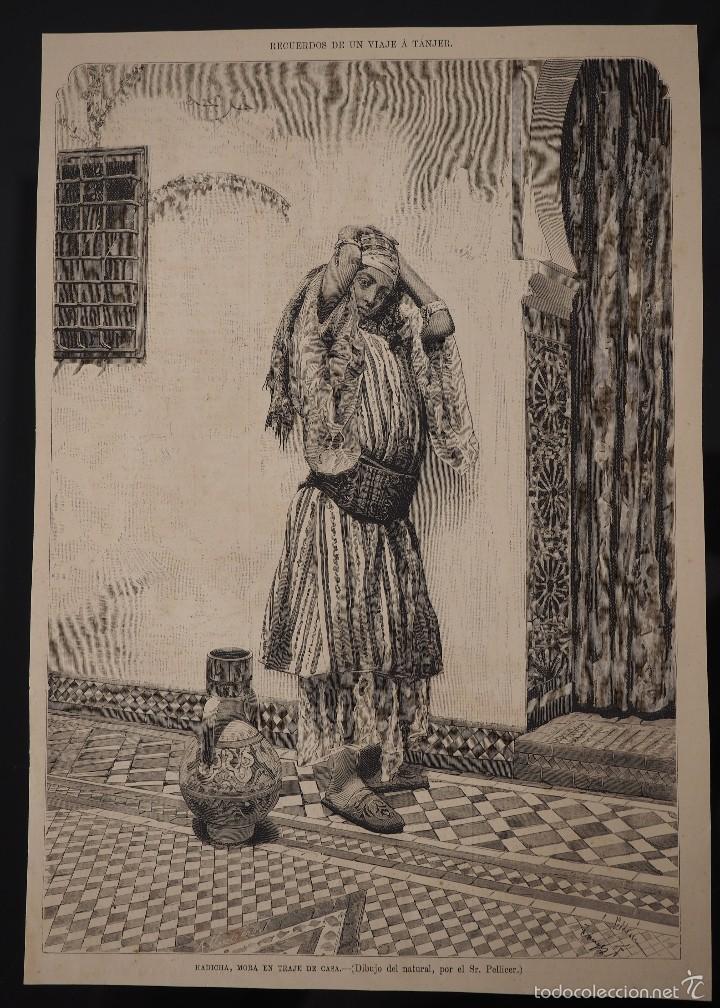 HOJA GRABADO REVISTA ORIGINAL SIGLO XIX. HADICHA, MORA EN TRAJE DE CASA, POR PELLICER (Coleccionismo - Revistas y Periódicos Antiguos (hasta 1.939))