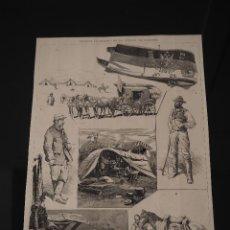 Coleccionismo de Revistas y Periódicos: GRABADO REVISTA ORIGINAL SIGLO XIX. TREN Y EQUIPO SEÑOR PELLICER, EJERCITO RUSO. Lote 59000870