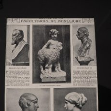 Coleccionismo de Revistas y Periódicos: HOJA REVISTA ORIGINAL AÑOS 10. ESCULTURAS DE BENLLIURE. Lote 59766976