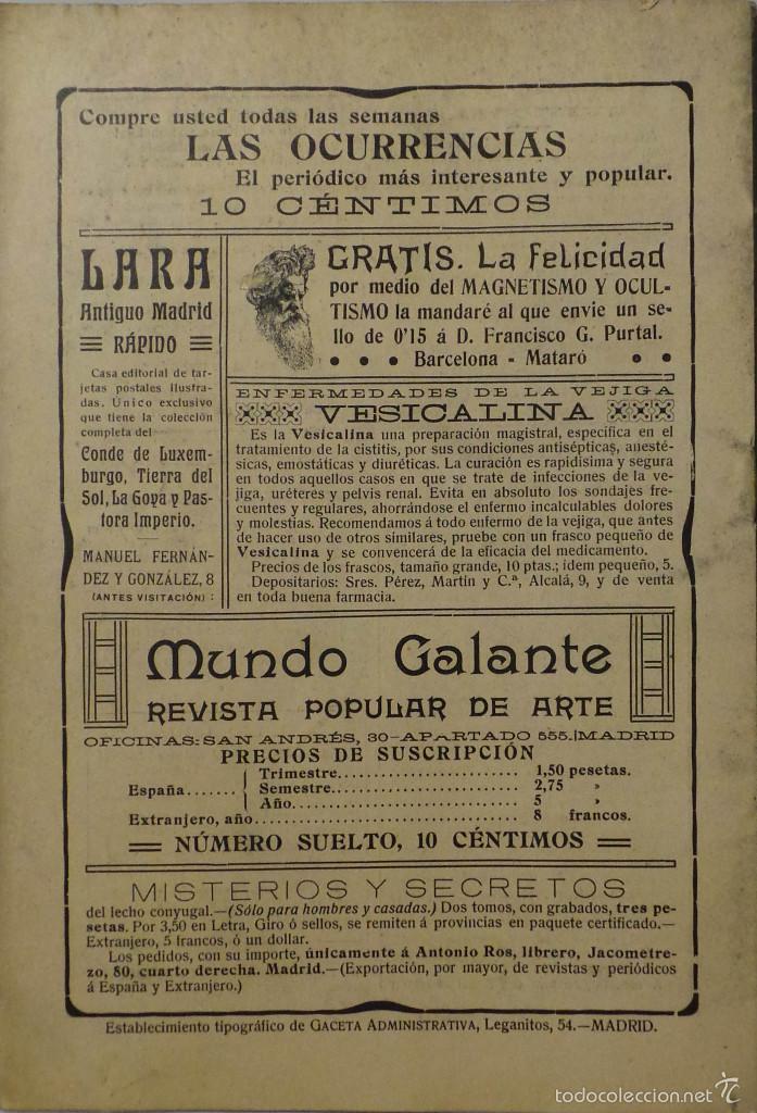 Coleccionismo de Revistas y Periódicos: PERIÓDICO 1912 MUNDO GALANTE Nº 10 - Foto 2 - 60139875
