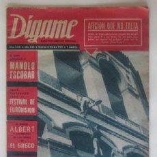Coleccionismo de Revistas y Periódicos: REVISTA DIGAME - AÑO 1969 - FESTIVAL DE EUROVISION, MANOLO ESCOBAR.... Lote 60224271