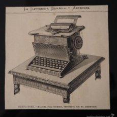Coleccionismo de Revistas y Periódicos: GRABADO REVISTA ORIGINAL SIGLO XIX. MAQUINA PARA ESCRIBIR INVENTADA EN NUEVA YORK POR REMINGTON. Lote 60269871