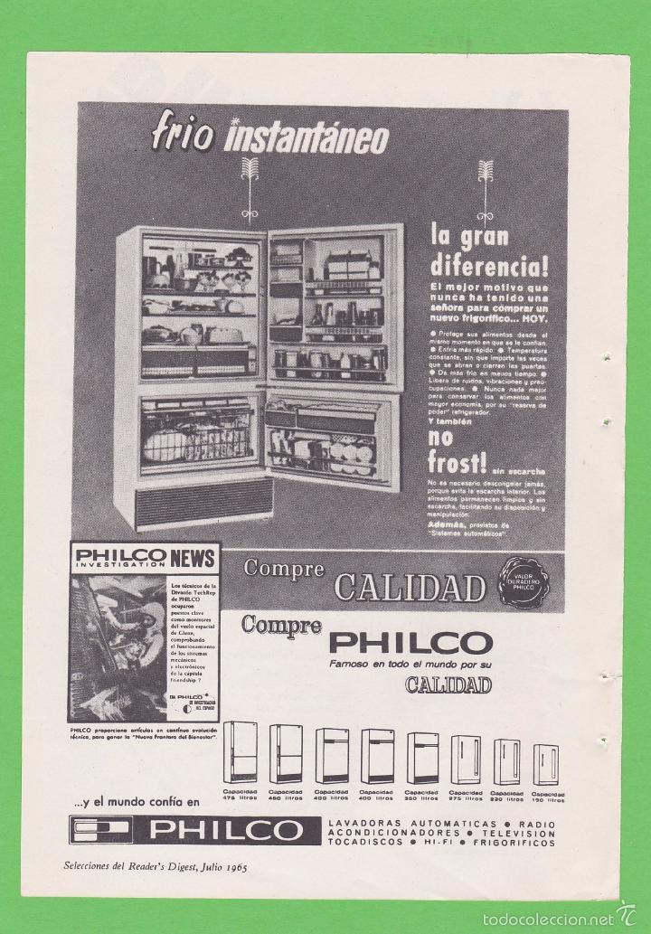 publicidad 1965. anuncio refrigerador philco - - Comprar Otras ...