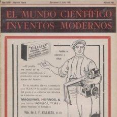 Coleccionismo de Revistas y Periódicos: EL MUNDO CIENTÍFICO, INVENTOS MODERNOS. Nº 181. JULIO 1.921. Lote 28593302