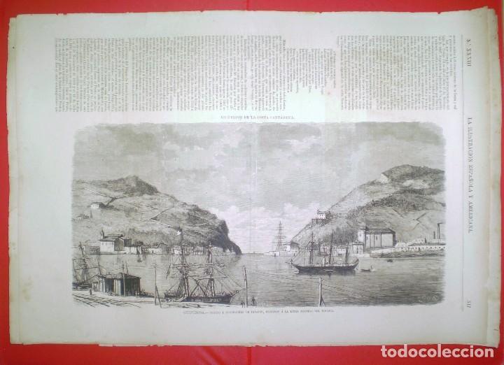 GRABADO - PUERTO Y FONDEADERO DE PASAJES AL BIDASOA - LA ILUSTRACION ESPAÑOLA Y AMERICANA. (Coleccionismo - Revistas y Periódicos Antiguos (hasta 1.939))