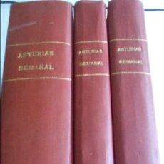Coleccionismo de Revistas y Periódicos: ASTURIAS SEMANAL. LOTE DE 3 TOMOS ENCUADERNADOS CON REVISTAS DE LOS AÑOS 70. DE LOS NUMEROS 136 AL 1. Lote 61794284