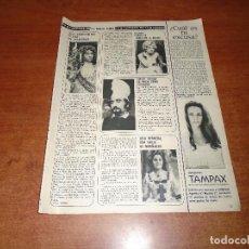 Coleccionismo de Revistas y Periódicos: CLIPPING 1972: LOLA HERRERA, EMILOO LAGUNA, SALOMÉ, JOSÉ SACRISTÁN, ANNIE CORDY, AZNAVOUR. Lote 62160492
