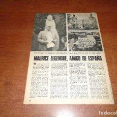 Coleccionismo de Revistas y Periódicos: RECORTE DE PRENSA 1975: MAURICE LEGENDRE, CALLE EN MADRID, EN LA ALBERCA (SALAMANCA), PEÑA DE FRANCI. Lote 62160952