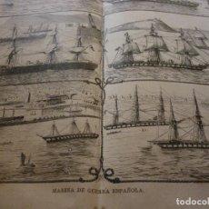 Coleccionismo de Revistas y Periódicos: AUTÉNTICO Y ORIGINAL GRABADO MARINA DE GUERRA ESPAÑOLA. A DOBLE PAGINA. 1872.. Lote 62170788