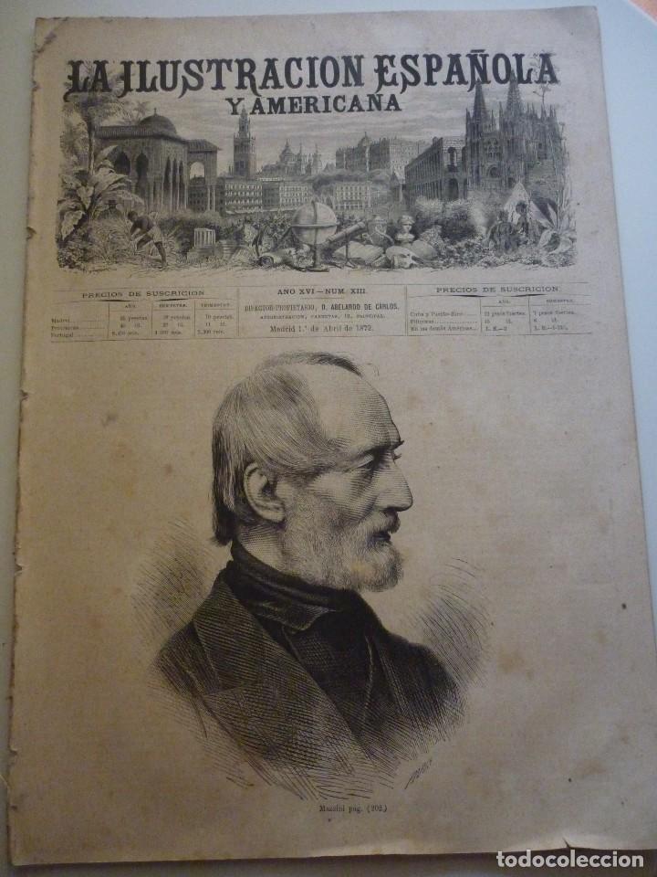 LA ILUSTRACIÓN ESPAÑOLA Y AMERICANA. AÑO 1872. NÚMERO XIII (Coleccionismo - Revistas y Periódicos Antiguos (hasta 1.939))