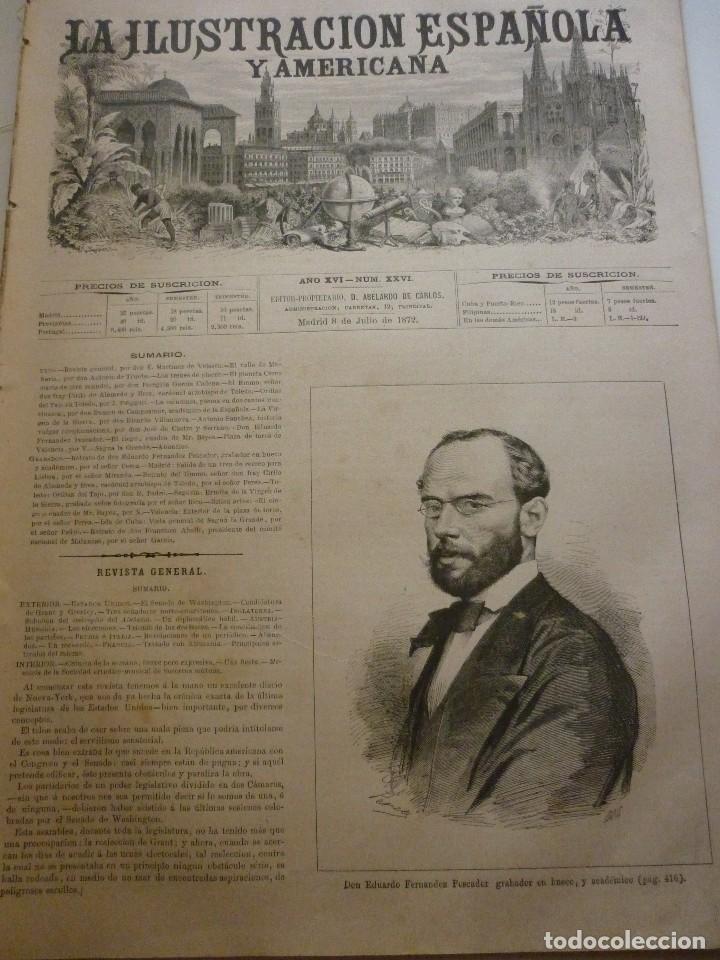 LA ILUSTRACIÓN ESPAÑOLA Y AMERICANA. AÑO 1872. NÚMERO XXVI (Coleccionismo - Revistas y Periódicos Antiguos (hasta 1.939))