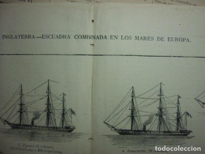 GRABADO ORIGINAL AÑO 1872 ESCUADRA COMBINADA INGLESA EN LOS MARES DE EUROPA. (Coleccionismo - Revistas y Periódicos Antiguos (hasta 1.939))