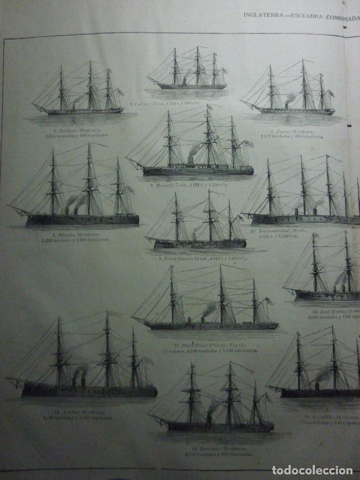 Coleccionismo de Revistas y Periódicos: GRABADO ORIGINAL AÑO 1872 ESCUADRA COMBINADA INGLESA EN LOS MARES DE EUROPA. - Foto 3 - 62327016