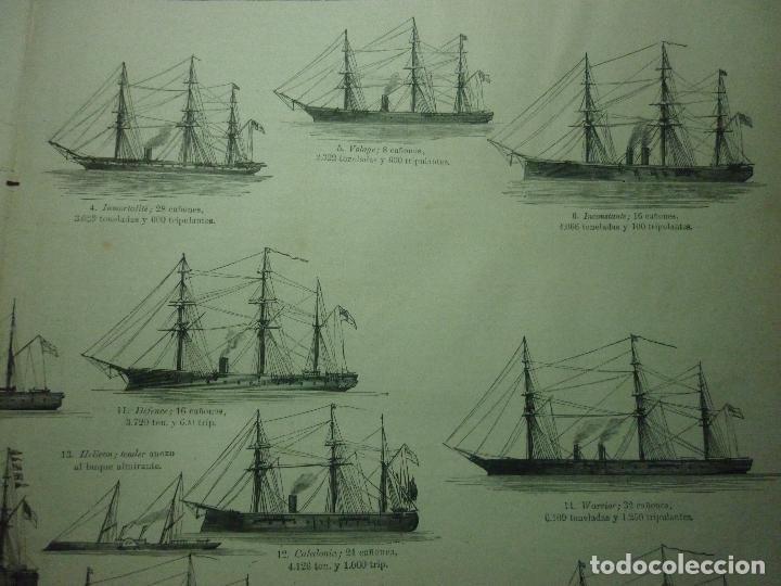 Coleccionismo de Revistas y Periódicos: GRABADO ORIGINAL AÑO 1872 ESCUADRA COMBINADA INGLESA EN LOS MARES DE EUROPA. - Foto 4 - 62327016