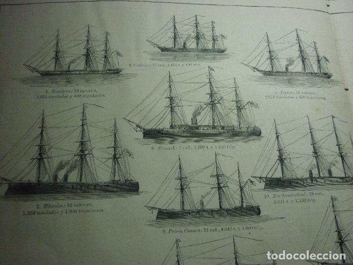 Coleccionismo de Revistas y Periódicos: GRABADO ORIGINAL AÑO 1872 ESCUADRA COMBINADA INGLESA EN LOS MARES DE EUROPA. - Foto 5 - 62327016