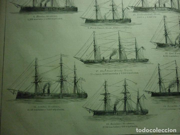 Coleccionismo de Revistas y Periódicos: GRABADO ORIGINAL AÑO 1872 ESCUADRA COMBINADA INGLESA EN LOS MARES DE EUROPA. - Foto 6 - 62327016