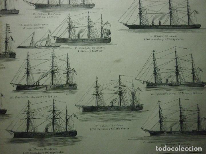 Coleccionismo de Revistas y Periódicos: GRABADO ORIGINAL AÑO 1872 ESCUADRA COMBINADA INGLESA EN LOS MARES DE EUROPA. - Foto 7 - 62327016