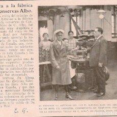 Coleccionismo de Revistas y Periódicos: EL PRÍNCIPE DE ASTURIAS EN LA FÁBRICA DE CONSERVAS ALBO DE CANDÁS -1925. Lote 62787360