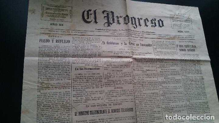 EL PROGRESO DIARIO LUGO MART 16 DE AGOSTO DE 1927 AÑO XX N 6141 EL GOBIERNO Y LA CORTE EN SANTANDER (Coleccionismo - Revistas y Periódicos Antiguos (hasta 1.939))