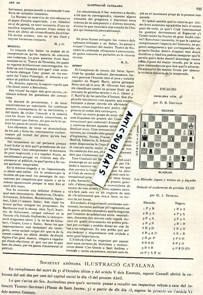 REVISTA AÑO 1905 CRONICA DEL PARTIDO DE FUTBOL F. C. CLUB BARCELONA BARÇA ESPAÑOL INTERNACIONAL RCD (Coleccionismo - Revistas y Periódicos Antiguos (hasta 1.939))