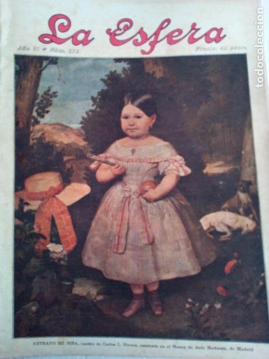 LA ESFERA Nº275 AÑO 1919 MUSEO DE CADIZ-RELOJES ICONOGRAFICOS-CAPILLA VELEZ MURCIA-MISTINGUETT (Coleccionismo - Revistas y Periódicos Antiguos (hasta 1.939))