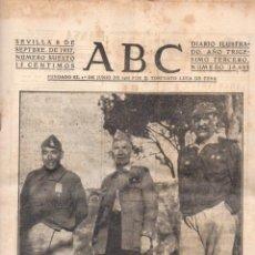 Coleccionismo de Revistas y Periódicos: DIARIO ABC SEVILLA GUERRA CIVIL MES DE SEPTIEMBRE 1937 - 13 EJEMPLARES. Lote 63901215