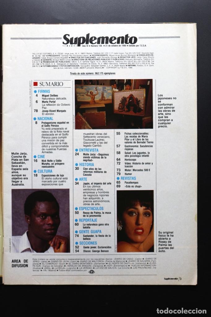 Coleccionismo de Revistas y Periódicos: Revista Suplemento Semanal nº 156 - 21 oct. 1990. Rossy de Palma, Nick Nolte y Eddie Murphy... - Foto 2 - 64609559