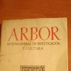 Coleccionismo de Revistas y Periódicos: REVISTA ARBOR COMPLETA ORIGINAL ENERO 1952 CAJAL Y EL PROBLEMA DEL SABER. LAÍN ENTRALGO. Lote 66058989