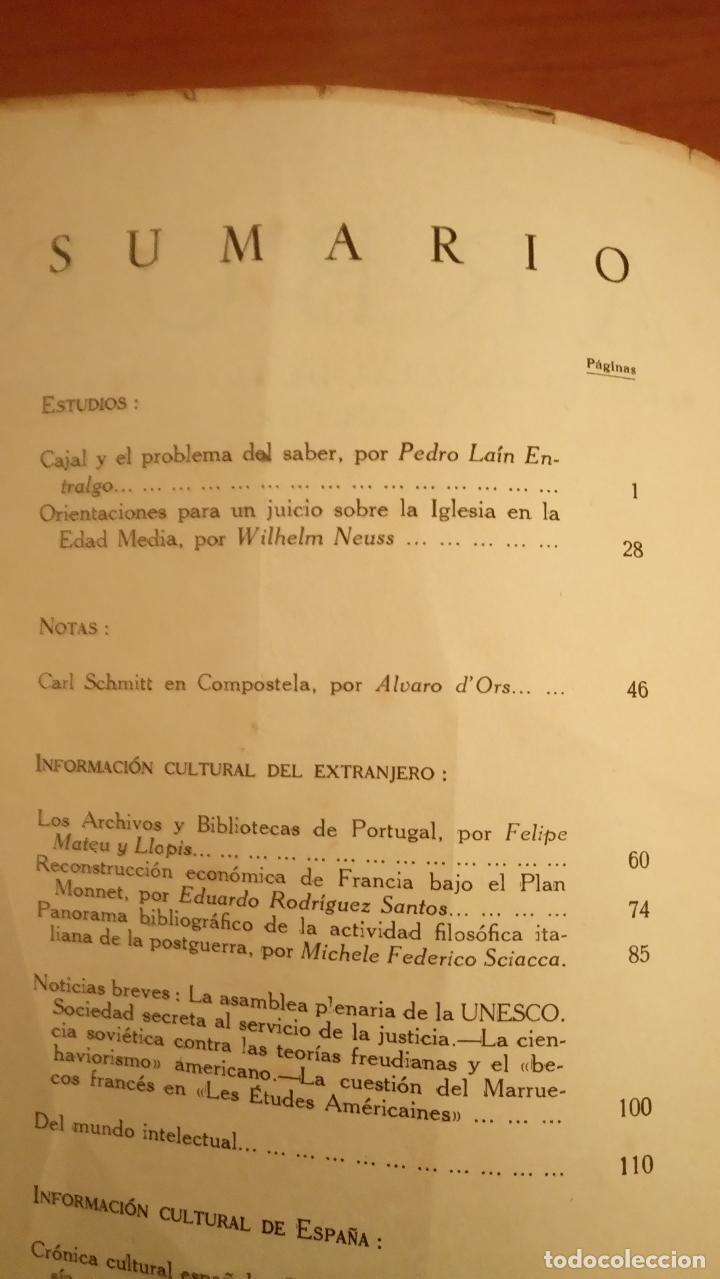 Coleccionismo de Revistas y Periódicos: Revista ARBOR COMPLETA ORIGINAL ENERO 1952 CAJAL Y EL PROBLEMA DEL SABER. LAÍN ENTRALGO - Foto 3 - 66058989