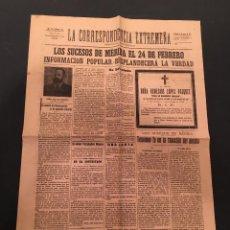 Coleccionismo de Revistas y Periódicos: LA CORRESPONDENCIA EXTREMEÑA PERIÓDICO MONÁRQUICO BADAJOZ 21 MARZO 1918 Nº 316. Lote 66315470