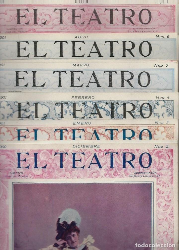 LOTE DE 6 REVISTA DE - EL TEATRO - DE 1900 A 1901- NUMEROS - 2 - 3 - 4 - 5 - 6 - 7 - (Coleccionismo - Revistas y Periódicos Antiguos (hasta 1.939))