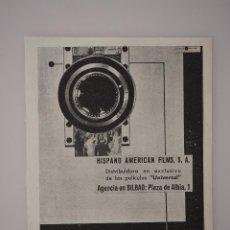 Coleccionismo de Revistas y Periódicos: PUBLICIDAD REVISTA ORIGINAL 1937. HISPANO AMERICAN FILMS, S.A., BILBAO. Lote 66843450