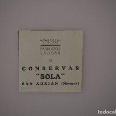 Coleccionismo de Revistas y Periódicos: PUBLICIDAD REVISTA ORIGINAL 1937. CONSERVAS SOLA, CHISTU. SAN ADRIAN, NAVARRA. Lote 66844850