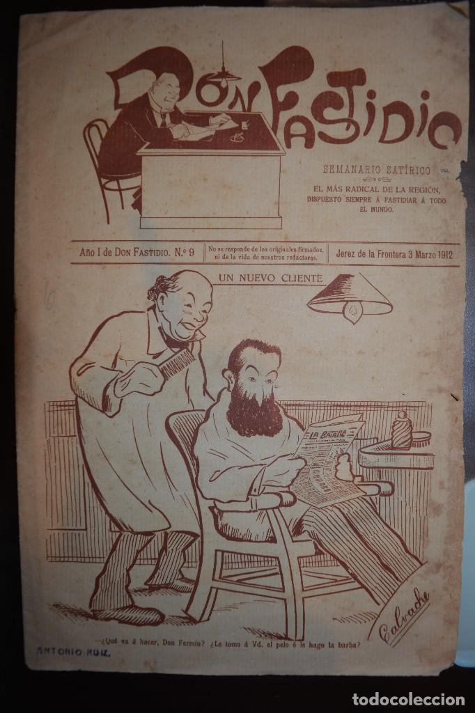 SEMANARIO SATIRICO DON FASTIDIO. NUMERO 9. JEREZ DE LA FRONTERA 3 MARZO 1912. MUY INTERESANTE (Coleccionismo - Revistas y Periódicos Antiguos (hasta 1.939))