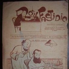 Coleccionismo de Revistas y Periódicos: SEMANARIO SATIRICO DON FASTIDIO. NUMERO 9. JEREZ DE LA FRONTERA 3 MARZO 1912. MUY INTERESANTE. Lote 67005082
